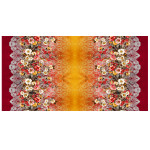 scarf-silk-wool-180cmx100cm-floral-lace-printed-digital-beautiful-feminine-drapy-soft-party-formal wear-work wear-high quality-brown-red-yellow-fall