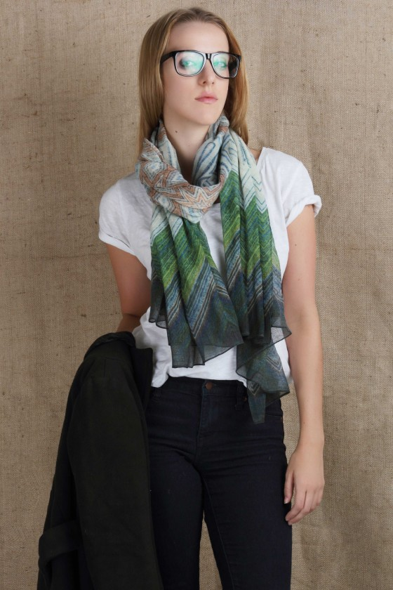 silk-scarf--woolen-scarf--silk-wool-scarf--cold-weather-scarf-chevron-print-scarf--green-scarf-stripe-scarf