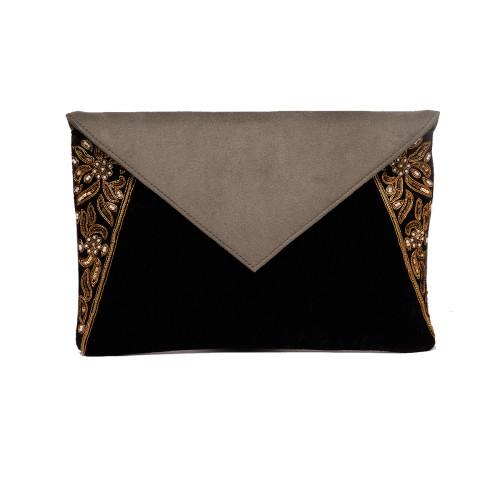 grey-darkbrown-velvet-suede-evening-party-envelopeclutch-enveloppurse-slingbag-flapsuede-chainembroidery-zardozi-handmade-california-la-freeshipping-branded