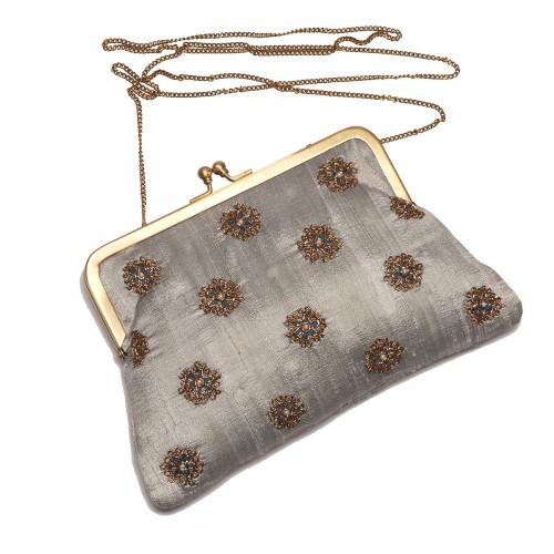 grey-puresilk-rawsilk-frameclutch-vintage-purse-eveningbag-party-wedding-sling-kisslock-embroidered-chainwork-indiancraft-handmade-new