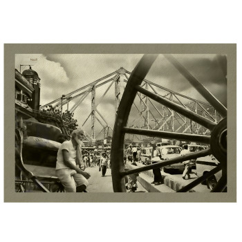 haath rickshaw-painting-cotton-canvas-printed-digital-large size- cheap-howrah bridge-india-vintage-street scene-busy street-popular-free shipping-gift-christmas-wal