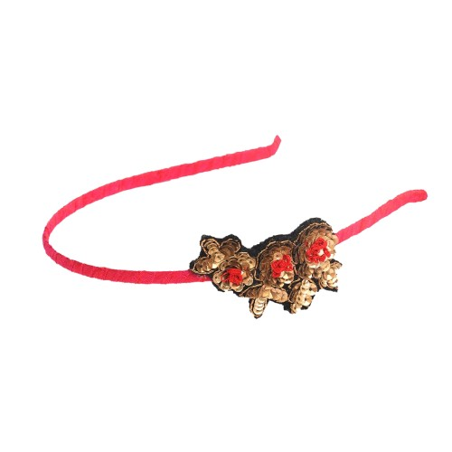 hairband-headgear-pretty-feminine-sequence-pink-rawsilk-thinband-dullgold-redflowers-popular-bestseller