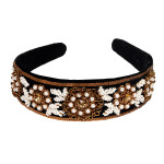 headband-black-rawsilk-puresilk-pearl-floral-headgear-accessory-gorgeous-freeshipping-popular-branded