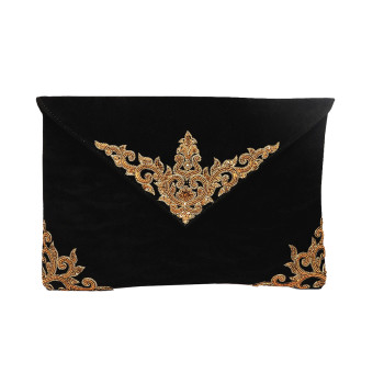 vintage-black-clutch-purse-sling-envelopeclutch-evening-party-embroidered-zardozi-velvet-california-la-freeshipping-handmade-crafted-indian