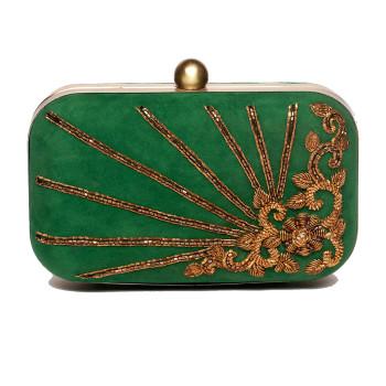 vintage-sling-clutch-purse-eveningbag-frameclutch-green-embroidered-handcrafted-indian-velvet-party-california-la-freeshipping-popular-bestseller