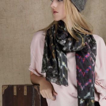 ikat-scarf--silk-scarf--color-splash-scarf--multicolor-scarf--designer-scarf--black-and-white-scarf--printed-scarf-popular-scarf--anthropologie-scarf--high-fashion-scarf