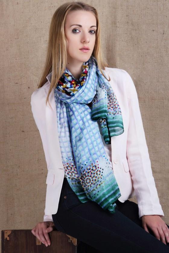silk-scarf--designer-scarf--green-scarf--lavender-scarf--cross-stitch-scarf--cross-stitch-print--plaid-scarf--border-print-scarf--printed-scarf