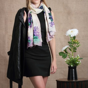 silk-scarf--wool-scarf--woolen-scarf--warm-scarf--head-scarf--neck-scarf--womens-accessory--dip-dye-scarf--lavender-scarf--vintage-scarf--floral-bunch-print-scarf