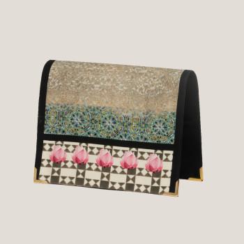 printedsatin-satin purse-designerbag-potteryart-sacred print-lotus-water lily