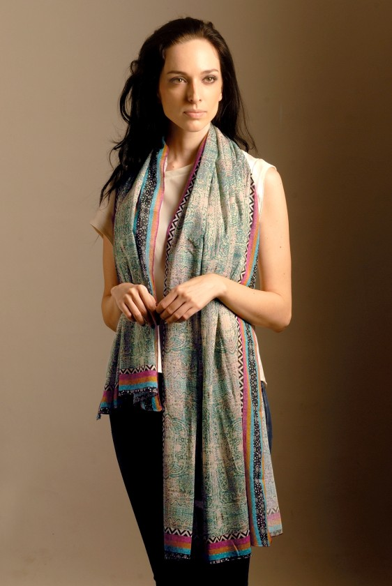 cotton scarf long printed la pottery art multicolored designer online shop