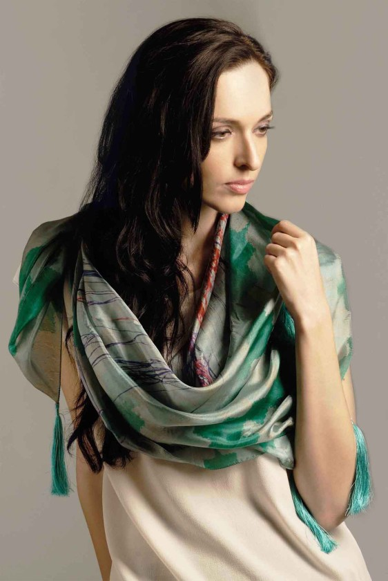 designer brand scarf silk luxury fashion pottery indian print