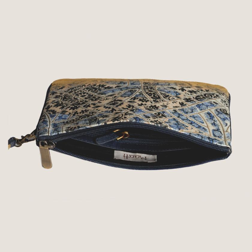 designerbag denimwristlet hotseller clutch blue pottery print jaipur-giftformom-giftforteacher-holiday2016-handmade-madeinusa-designergifts