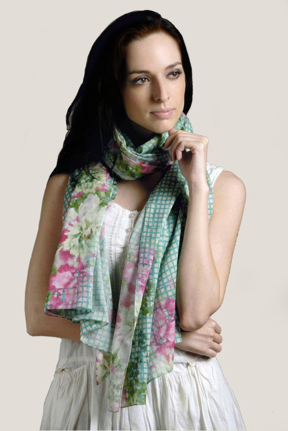 floral print new digital print cotton scarf summer plaid turquoise