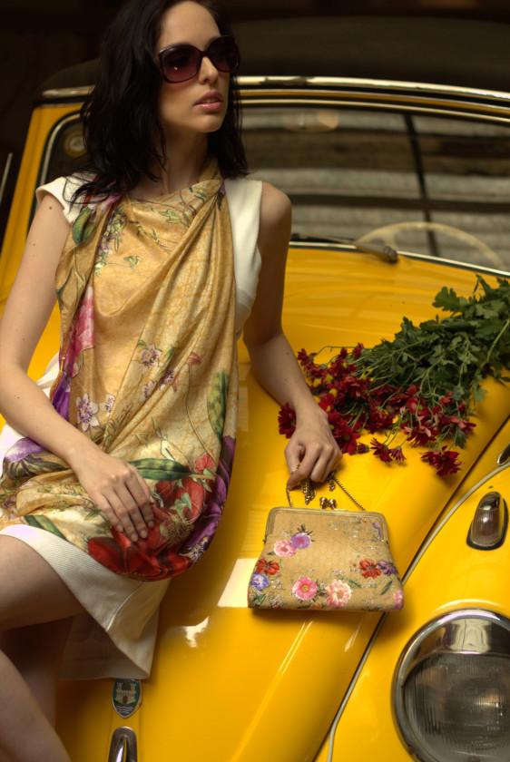 floral printscarf hotseller silk new arrivals la square golden vintage