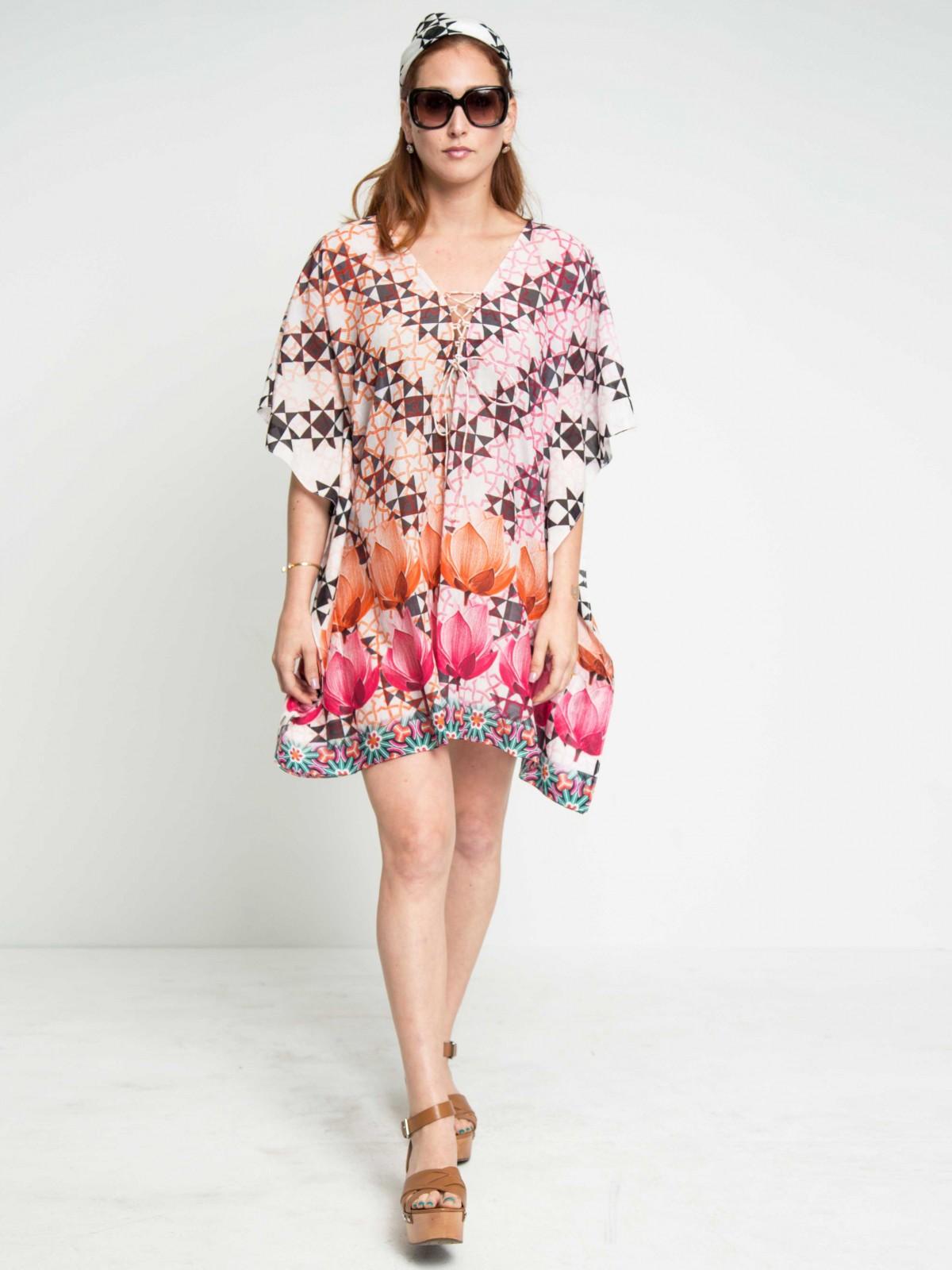 Pop Twin Lotus Cotton Silk Lace-up Kaftan Dress - Maati